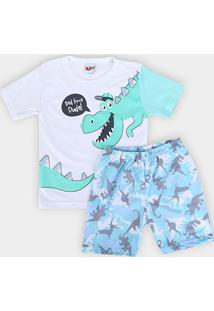 Pijama Infantil Kiko &Kika Dinossauro Masculino - Masculino-Cinza+Azul Claro