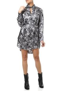 Vestido Curto Feminino Chemise Animal Print Prata