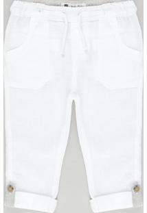 Calça Com Linho E Algodão + Sustentável Off White