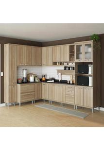 Cozinha Compacta Sicília 16 Portas C/ Tampo Preto E Vidro Argila - Multimóveis