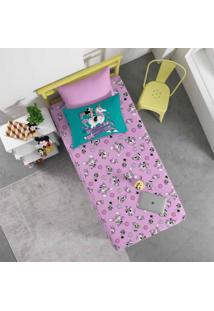 Jogo De Cama Portallar Solteiro Malha Disney Toy 2 Peças Woody E Buzz Azul