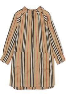 Burberry Kids Vestido Com Listras Icon - Neutro