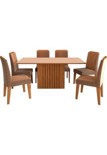 Conjunto De Mesa Com 6 Cadeiras Para Sala De Jantar 180X90 Ana/Nicole-Cimol - Savana / Off White / Pluma