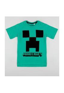 Camiseta Infantil Creeper Minecraft Manga Curta Verde