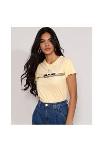 "Camiseta Feminina Manga Curta Simba O Rei Leão ""Rock 'N' Roar"" Flocada Decote Redondo Amarela"