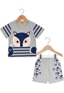 Pijama Rolú Curto Baby Menino Cinza