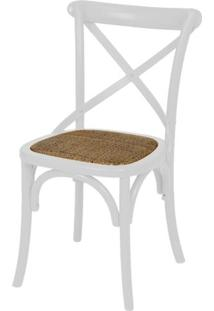 Cadeira Katrina Branca Laqueada Com Assento Rattan - 30749 Sun House