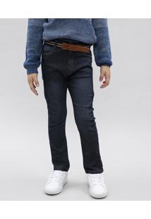 Calça Jeans Infantil Com Bolsos E Cinto Azul Escuro