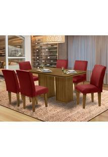 Mesa Para Sala De Jantar Com 6 Cadeiras Amsterdam – Dobuê Movelaria - Mell / Marsala