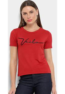 Camiseta Aura Voilá Feminina - Feminino-Vermelho
