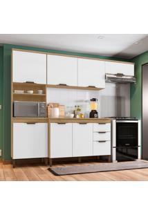Cozinha Compacta Milena 7 Pt 3 Gv Marrom Claro E Branca