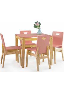 Mesa Com Cadeiras Tucupi 80Cm - Acabamento Stain Natural E Rosa Coral
