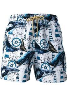 Short Tactel Baleia Praiar Masculino - Masculino-Branco+Azul