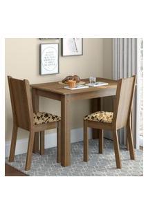 Conjunto Sala De Jantar Madesa Bel Mesa Tampo De Madeira Com 2 Cadeiras Marrom