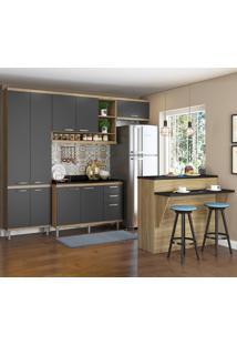 Cozinha Compacta Sicília 11 Portas 3 Gavetas Sicilia 5846 Premium Argila/Grafite - Multimóveis