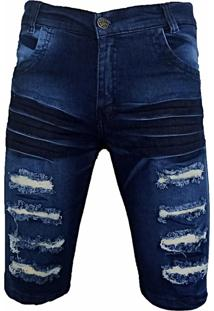 Bermuda Jeans Masculina Flanyll Destroyed Slim Rasgada Com Lycra Azul