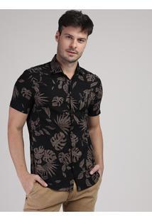 Camisa Masculina Folhas Manga Curta Preta