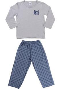 Pijama Longo Infantil Para Menino - Cinza/Azul