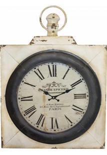 Relógio De Parede Ferro Quadrado Oldway 65X50X7