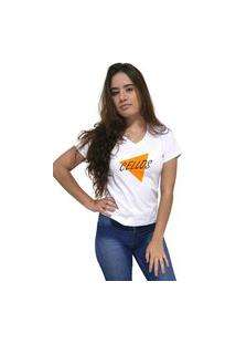 Camiseta Feminina Gola V Cellos Nacho Premium Branco