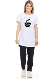 Camiseta Estampada Coffe Feminina - Feminino-Branco