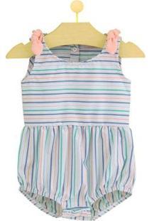 Body Infantil Pandi Laço Estampado Feminino - Feminino-Salmão+Azul