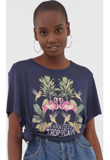 Camiseta Colcci Paraísos Tropicais Azul-Marinho - Kanui