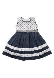 Vestido Infantil Bicolor Bordado De Lacinhos Com Pérolas - Anjos Baby Chic Azul Marinho