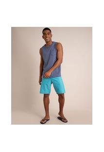 Bermuda Surf Reta Estampa De Textura Azul