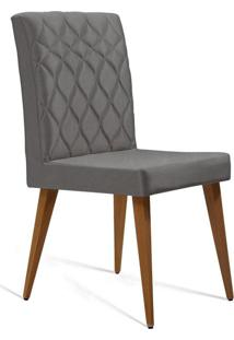 Cadeira De Jantar Edon Suede Cinza