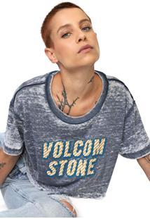 Camiseta Cropped Volcom Babe Rad Azul/Branca