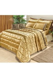 Kit Colcha Queen Safari 9 Peças Bia Enxovais Dourado