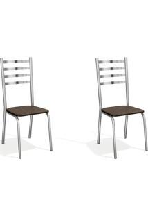 Conjunto Com 2 Cadeiras De Cozinha Alemanha Cromado E Marrom