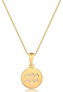 Colar Francisca Joias Signo Aquário Pequeno Com Zircônias Folheado Em Ouro 18K - Feminino-Dourado