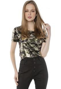 Camiseta T-Shirt Metalizada Camuflada Pop Me Verde