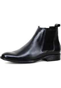 Bota Chelsea Masculina Mr Shoes Em Couro Preto - Kanui