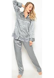 Pijama Com Botãµes- Cinzafruit De La Passion