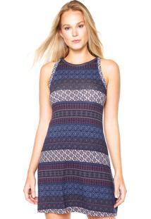 Vestido Linha Leve Curto Étnico Azul-Marinho