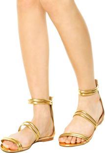 Rasteira Dafiti Shoes Gladiadora Dourada