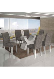 Conjunto De Mesa Com 6 Cadeiras Olímpia Ii Linho Branco E Cinza
