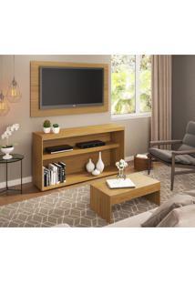 Rack C/Painel Tv Até 50 Pol.Mesa De Apoio Atualle Multimóveis Natural Acetinado Texturizado Ref.2839