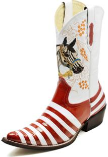 Bota Country Bico Fino Top Franca Shoes Verniz Vermelho / Branco
