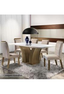 Conjunto De Mesa & Cadeiras Adria- Castanho Fosco & Begelj Móveis
