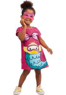 Vestido Curto Com Máscara Infantil Zig Zig Zaa Rosa Claro - 1