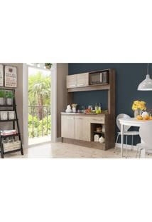 Cozinha Compacta New Delta 4 Portas 1 Gaveta Freijó/Acácia Decibal Moveis