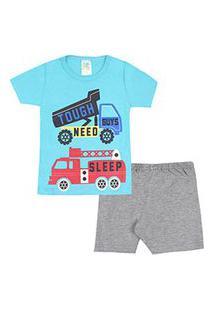 Pijama Infantil Masculino Curto Meia Malha Turquesa E Mescla Caminhão (4/6/8) - Jidi Kids - Tamanho 8 - Turquesa,Mescla