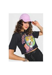 Camiseta Cropped Forever 21 Tropical Preta
