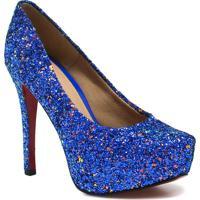 d1440b1be9 Sapato Zariff Shoes Noivas Pump Glitter - Feminino-Azul