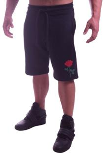 Bermuda Moletom Advance Clothing Flower Preta