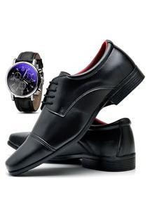 Sapato Social Masculino Db Now Com Relógio Dubuy 807Od Preto